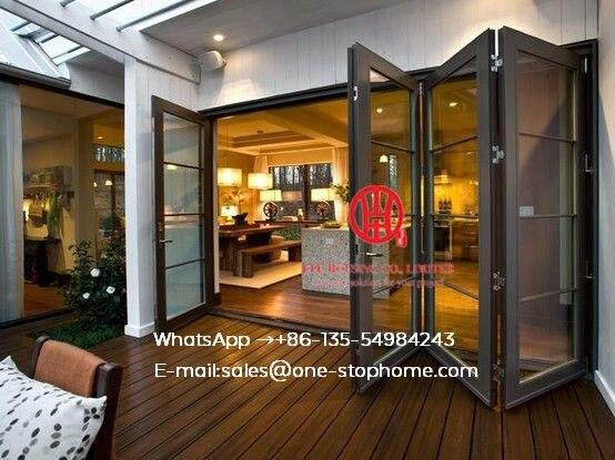 Estándar australiano, doble acristalamiento, cristal templado, cortinas de diseño, insertar, exterior, interior, puerta corredera plegable de aluminio