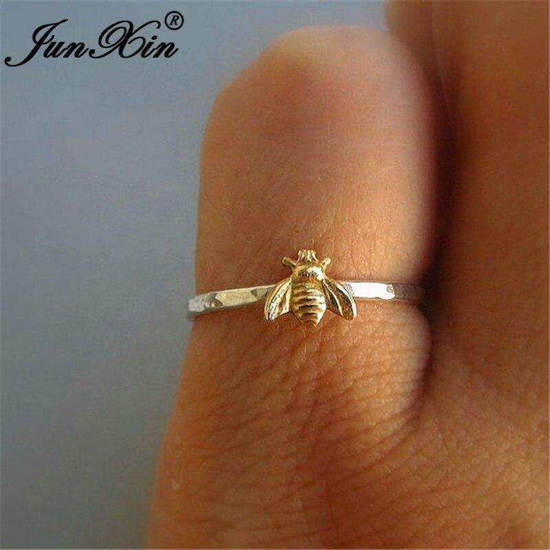 JUNXIN נקבה זכר חמוד קטן זהב דבורה טבעות לנשים גברים לבן זהב מלא Stackable משותף Midi טבעת מינימליסטי תכשיטים מתנות