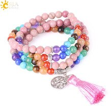 CSJA 108 Mala Beads Bracelet Line Rhodonite Chakra Natural Stone Tassel Bracelets for Women Men Tree of Life Charms Jewelry F518
