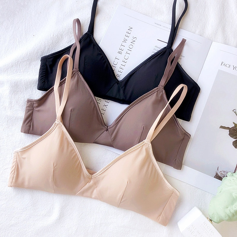 Wriufred Seamless Push Up Bra Women Underwear Lingerie Triangle Cup Bras Plus Size Bra Sexy Deep V Breathable Bralette Sleepwear