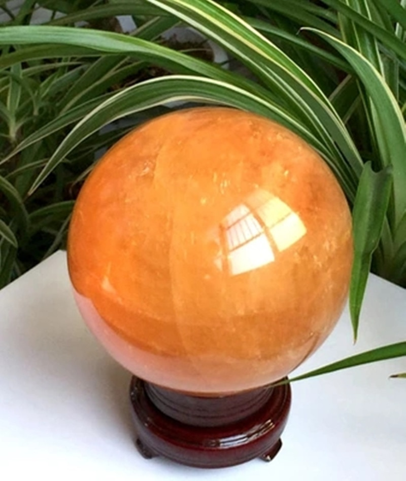 ¡86 MM + arena Natural citrino cuarzo de calcita bola de cristal curativa Gemston!