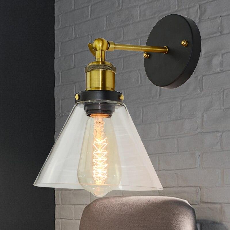 Luces de pared de hierro y vidrio Vintage para decoración de hogar,...