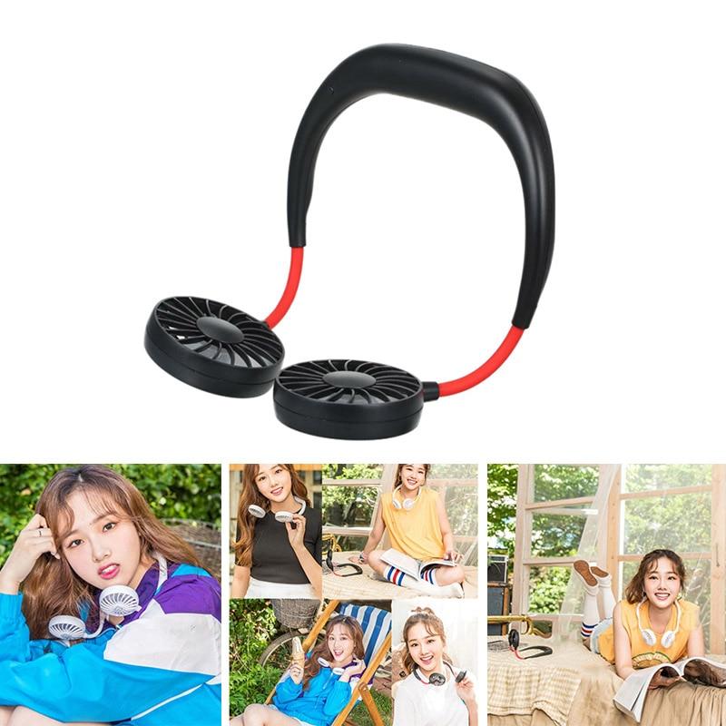 USB Tragbare Fan Hands Free Neck Fan Hängen Wiederaufladbare Mini Sport Fans Persönliche Mini 3 Geschwindigkeit Einstellbar Für Home Office