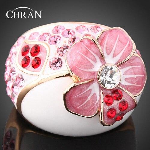 Chran tendance émail rose fleur Desgin promis anneaux pour les femmes couleur or cristal bagues de fiançailles bijoux accessoires