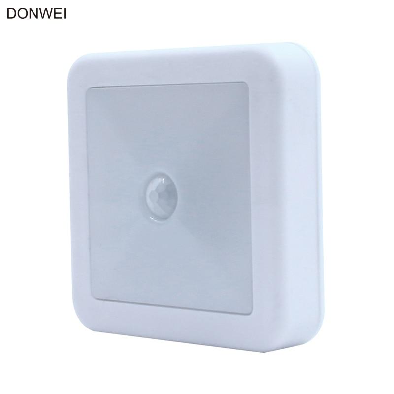 DONWEI LED Night Light IR Motion Sensor Square LED Cabinet light Wall Lamp Lighting By 3A Battery For Closet Bedroom Toilet ligh