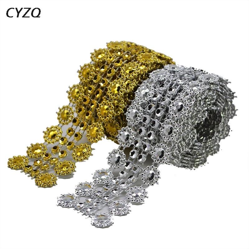 1 Yard Gold Rhinestones Tape Motifs Ribbon DIY Crystal Densify Rhinestones Trimming Cup Chain on Glue Sewing Craft Accessories