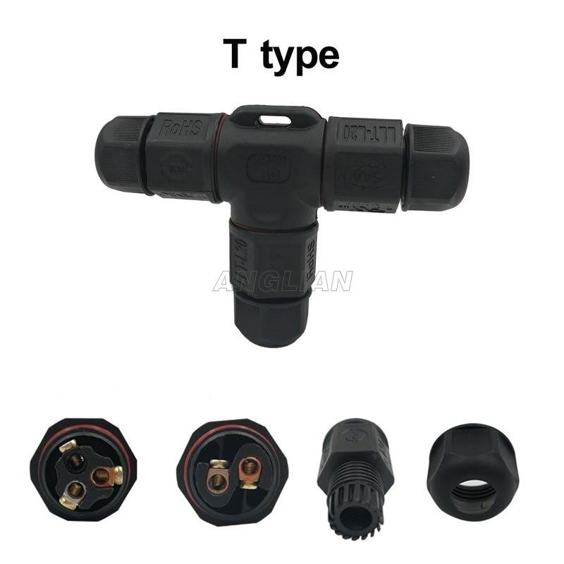 10 موصلات كابلات مقاومة للماء IP67 ، نوع T ، 2 ، 3 ، 4 سنون ، سلك كهربائي ، مقبس سريع ، برغي إضاءة خارجي