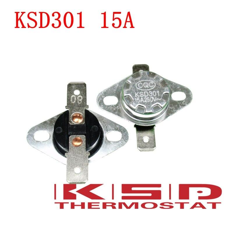 5 uds. KSD301 105C 105 grados Celsius 15A250V NC interruptor de temperatura normalmente cerrado sensor de Interruptor de control de temperatura termostato