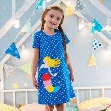 유아 소녀 옷 주머니 어린이 드레스 튜닉 동물 Appliqued 2019 뉴 여름 키즈 의류 캐주얼 아기 소녀 드레스
