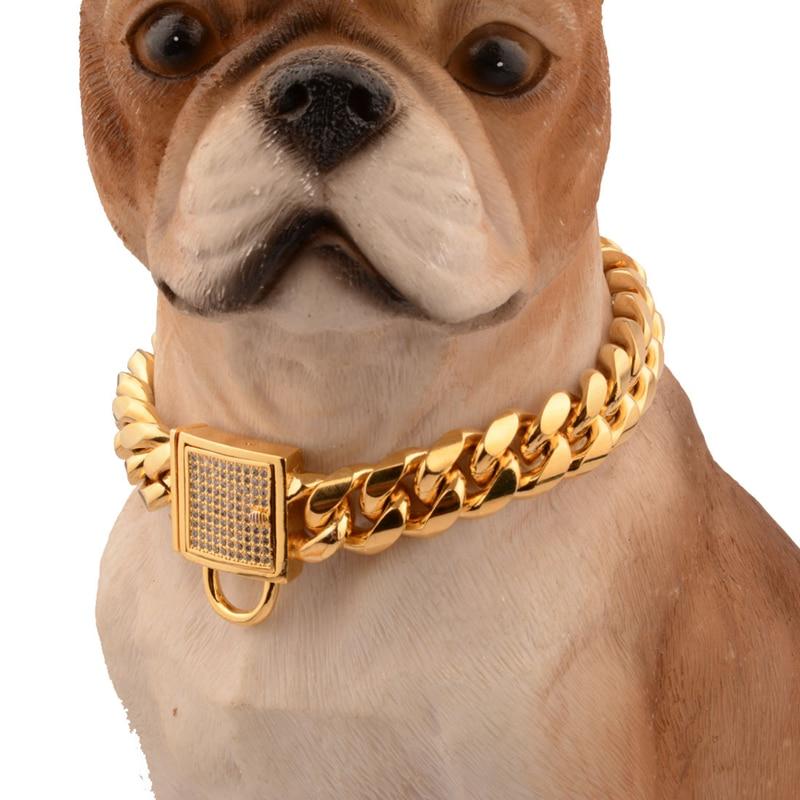 Collar de perro de acero inoxidable de joyería de moda, cadena de acero Martingale, Collar de Mascota de diamantes de gama alta, Collar de perros Doberman