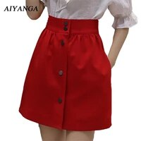 high waist a line skirts women elegant office ladies summer 2021 slim solid white skirts red black short skirt single breasted