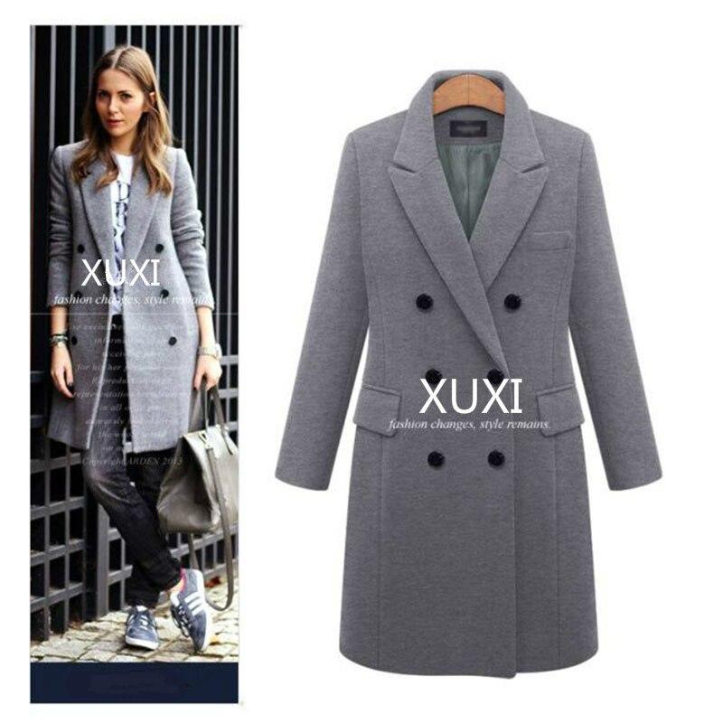 XUXI, abrigo de Otoño Invierno para mujer, chaquetas informales de lana lisa, Blazers para mujer, elegante, con doble botonadura, abrigo largo para mujer, tallas 5XL FZ244