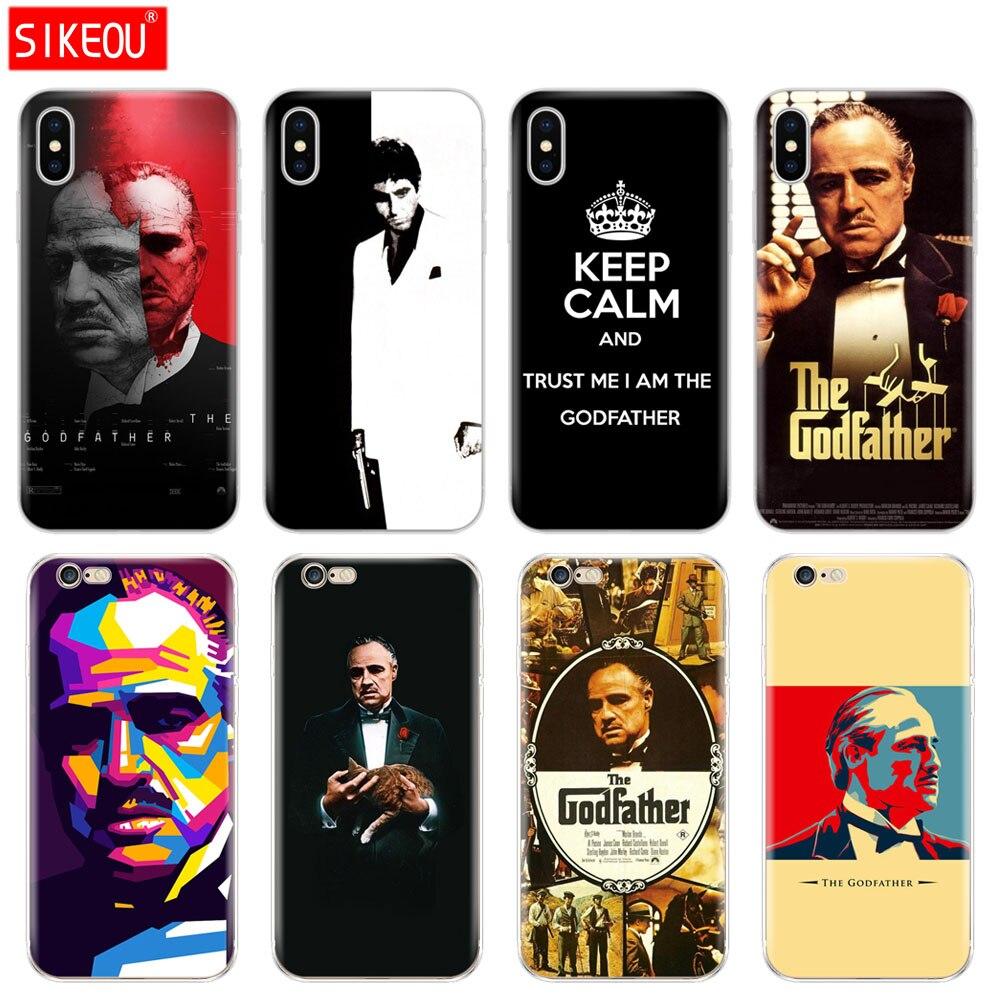 Tampa Do Telefone de Silicone Case Para Iphone 5 6X8 7 6 s 5S SE Plus 10 XR XS Max caso padrinho deus pai
