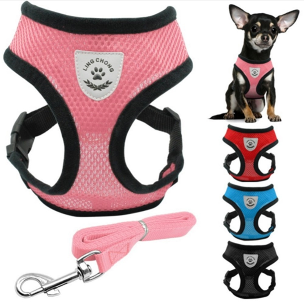 kitten harness pet leash cat harness outdoor walk for small cat puppy chihuahua pet harness leash cat products Breathable Mesh Small Dog Pet Harness and Leash Set Puppy Cat Vest Harness Collar For Chihuahua Pug Bulldog Cat arnes perro