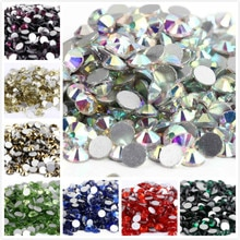 S6 ~ ss34 AAAAA en kaliteli kristal olmayan düzeltme yapay elmas süper parlak cam Strass 3D Nail Art dekorasyon DIY elbise giyim