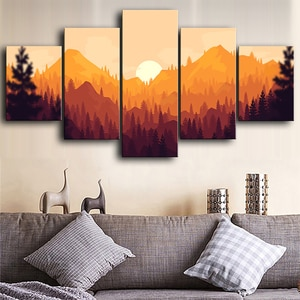 Modern Wall Art Canvas 5 Pieces Paintings Sunset Scenery Pictures Hd Prints Home Decoration Poster For Living Room Modular Frame