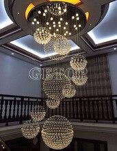 Luxury Modern Crystal Chandelier Large Hall LED Pendant Lamp Creative Staircase Light Villa Penthouse Crystal Ball Light