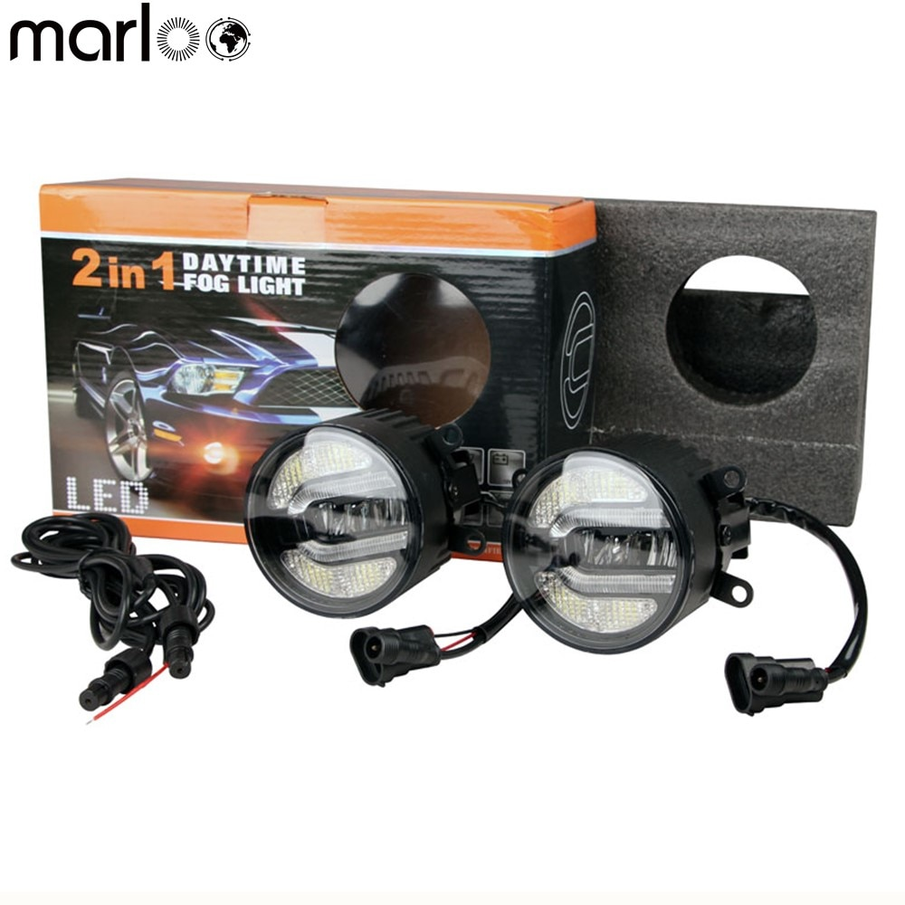 2pcs E13 Emarked Car Led Fog Light Lamp DRL Driving Bulb For Land Rover Ford Nissan Mitsubishi Toyota Lexus Suzuki Dacia