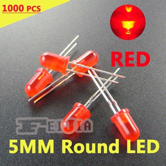 1000 unids/lote 5mm rojo redondo LED diodo Lndicator luces Super brillante roja] DC1.9-2.3V envío gratis