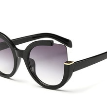 Sexy Cat Eye Sunglasses Women Brand Designer Mirror Sun Glasses Ladies Round Lens Shades for Women E