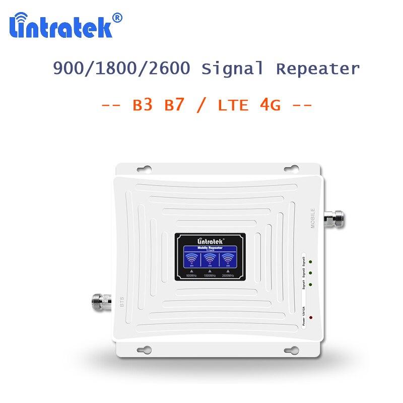 Lintratek 4G LTE 1800 2600 amplificador de señal B3 B7 celular Booster 4G datos teléfono móvil 2G GSM Repetidor 900 pantalla Repetidor S29