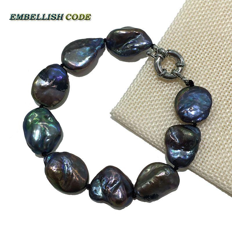 Venta al por mayor 2016 Nueva pulsera talla grande keshi forma de semilla de melón perla natural de agua dulce Negro Azul joyería fina