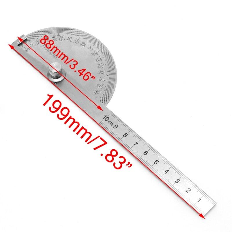 1 STÜCK Edelstahl Runden Kopf 180 Grad Winkelmesser Finder Rotary Meßlineal Maschinist Tool Handwerker Digitale Herrscher