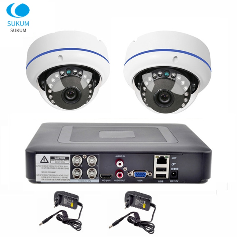2CH DVR CCTV System 2PCS 1080P Fisheye Dome Cameras 180 Degree View 2MP AHD CCTV DVR Surveillance Kit