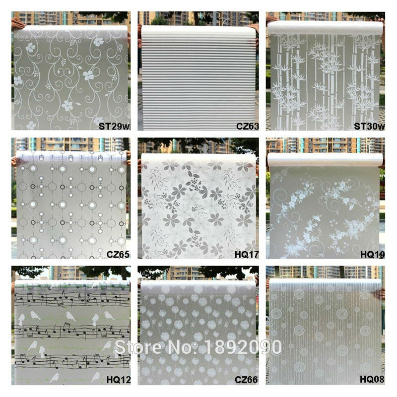Wide 45cm*Long 100cm Frosted Opaque Glass Window Film For Window Privacy Adhesive Glass Stickers Hom