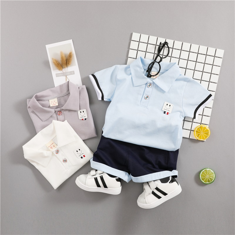 Baby Boys Summer Clothes Set Cotton 2018 Toddler Suits Short Sleeve Shirt + Black Pants Children Clothing For Kids