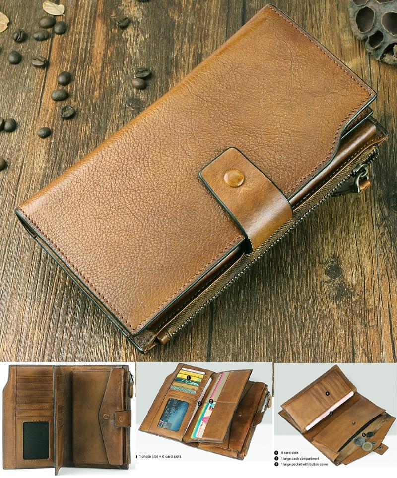 Fashion Vintage Genuine Leather Wallet men Leather Long Wallet male purse Clutch Bag money bag men wallet coin Purse card holder
