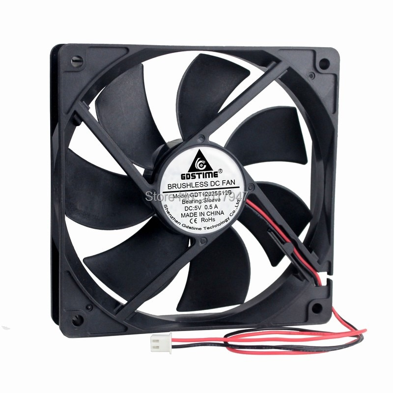 2 pieces lot Gdstime 12cm 120mm x 25mm 2Pin 0.5A DC Brushless PC Computer Case Cooling Fan 5V