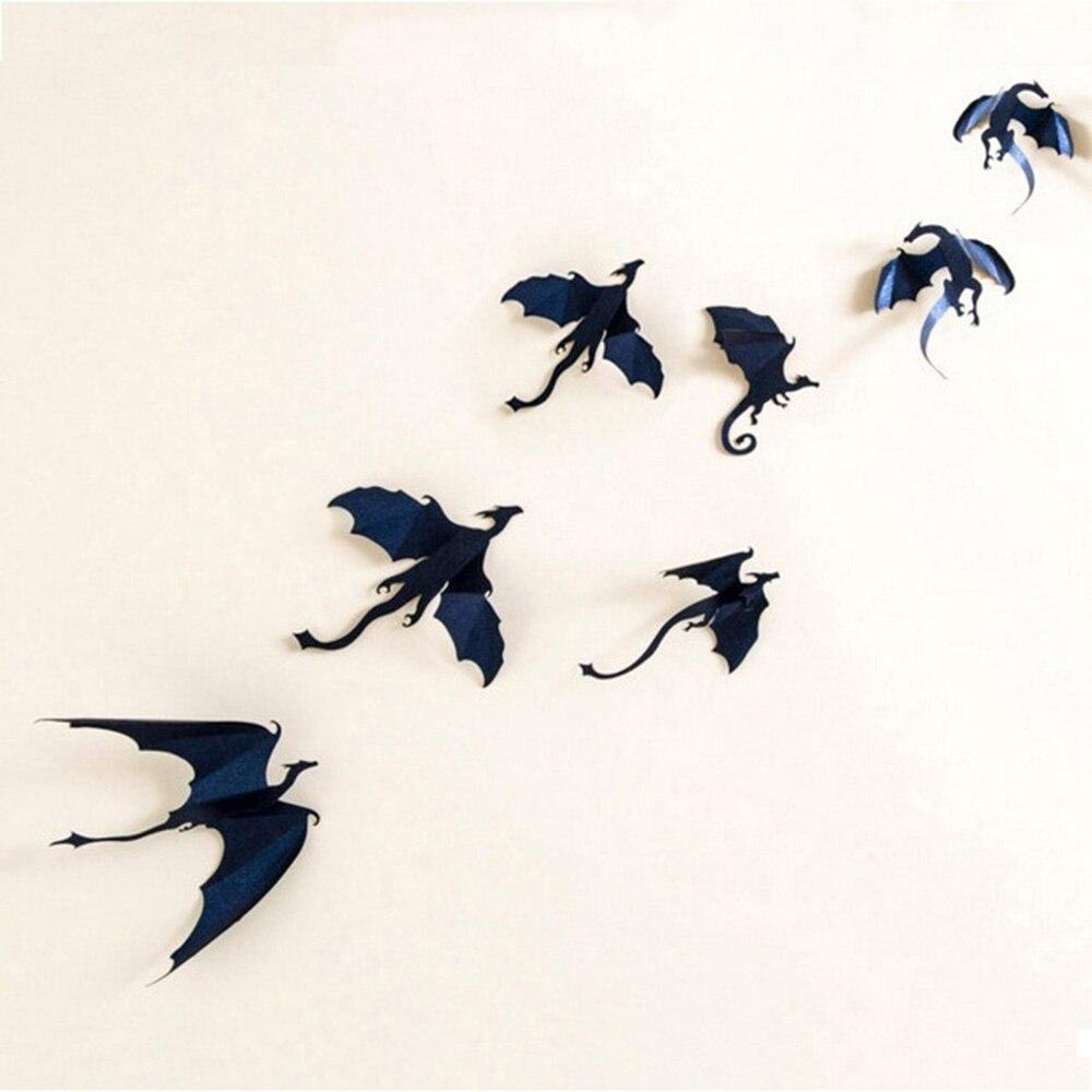 7 unids/lote pegatinas de pared góticas dragones de alta calidad Juego de tronos inspirado 3D dragón decoración pegatinas paredes Decoración