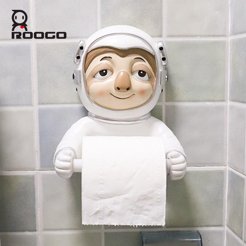 Roogo Ceramic Paper Holder Toilet Cartoon Animal Space Astronaut Bathroom Decorative Paper Dispenser Creative Towel Toilet Paper enlarge
