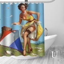 Big Sale New Custom pin up girl Modern Shower Curtain with Hooks bathroom Waterproof Polyester Fabric