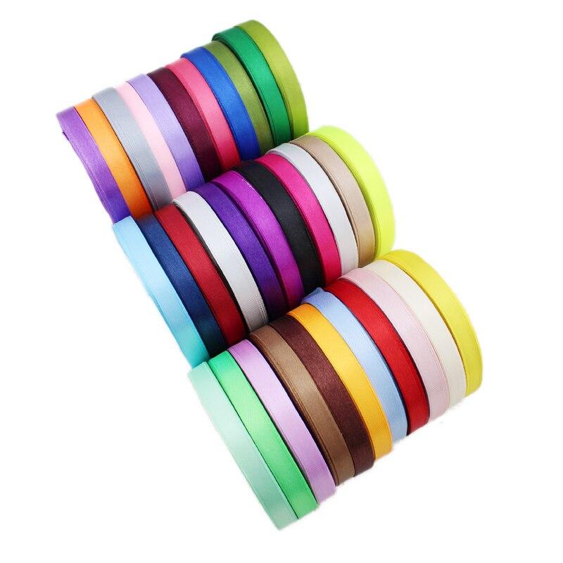 "3/8 ""(10mm) 22 metros cinta de satén barata manualidades y costura en blanco negro azul púrpura cinta hecha a mano DIY Material papel de regalo"