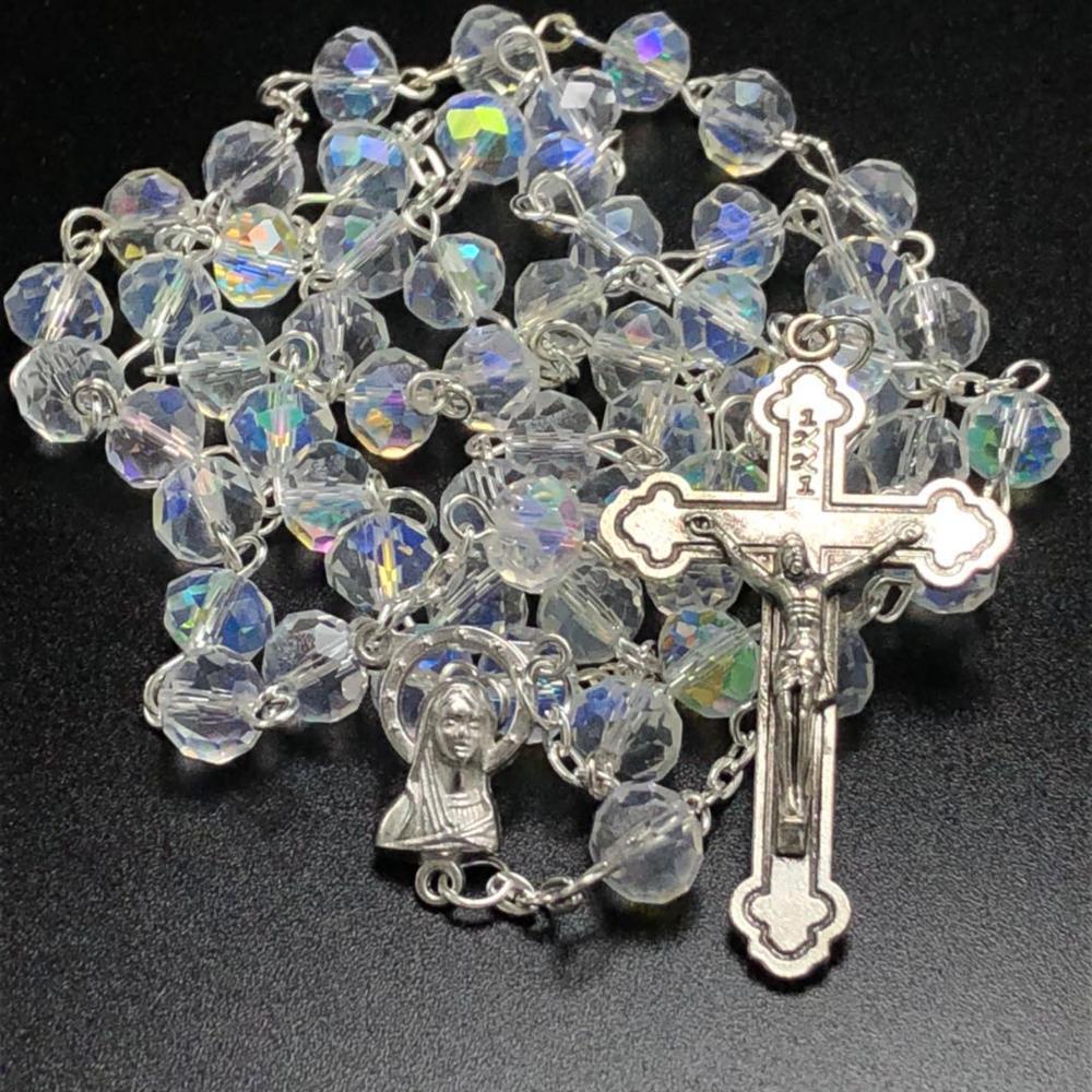 Collar de Rosario de cristal facetado AB de 6x8mm para uso religioso con cruz de Jesús y centro de la Virgen María