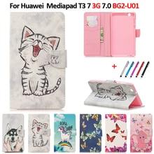 Case For 2017 Huawei MediaPad T3 7 3G BG2-U01 Kawaii Unicorn Cat Puppy Leather Cover For Huawei Huawei T3 7 Case 3G Version
