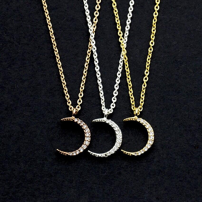 Venta al por mayor, 10 unids/lote, Collar con colgante de Luna creciente para mujeres, regalos BFF, joyería de cristal de soya Luna, Collar de cadena de Color oro rosa para Mujer