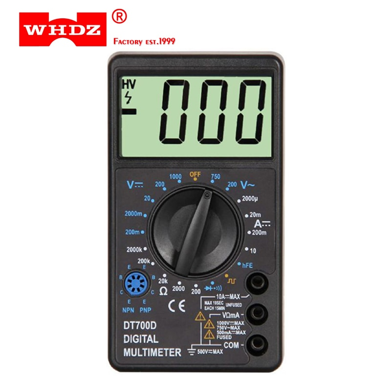 WHDZ DT-700D Mini pantalla grande Digital multímetro zumbador protección de sobrecarga onda cuadrada salida voltímetro amperio ohmios Tester