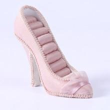MagiDeal Mini chaussures à talons hauts rose porte-anneau bijoux présentoir vitrine 12x13cm