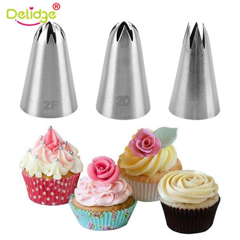 Delidge 3 unids/set de boquillas rusas para glaseado de pasteles de gran tamaño, boquillas de pastelería de acero inoxidable, utensilios para decoración de tortas con Fondant