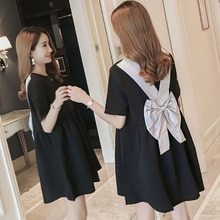 Pregnant women wearing summer doll dress back bow knot pregnant women short-sleeved dresses korean maternity clothes