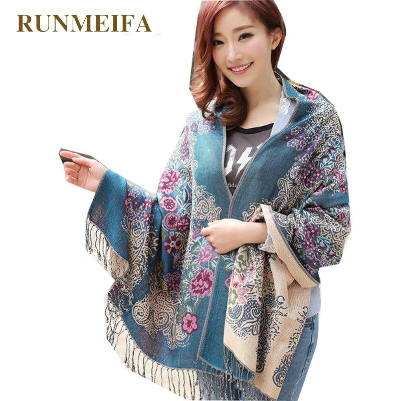 RUNMEIFA Pashmina de poliéster de Invierno para mujer, chal estampado con borla, moda de marca de lujo, Cachemira estampada, bufandas femeninas, envío gratis