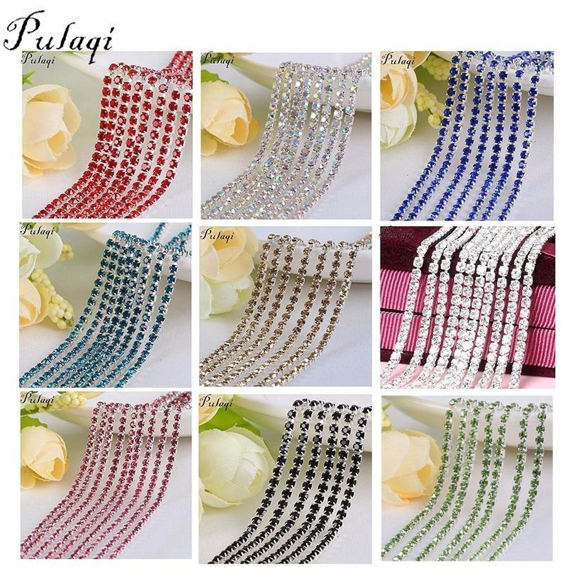 Pulaqi colorido strass copo corrente fina ab garra strass diy base de prata cristal acessórios para festa jantar vestido sapatos f