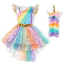 YOFEEL filles arc-en-ciel licorne robe Cosplay ange bal Costume enfants Tutu princesse dentelle robes cheveux cerceau aile ensemble fête Halloween