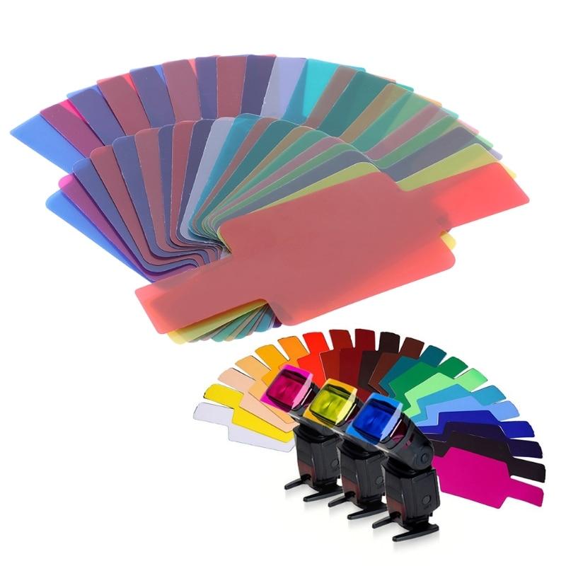 20 Color Photographic Color Gel Filter Cards Set Flash Speedlite for Canon Nikon