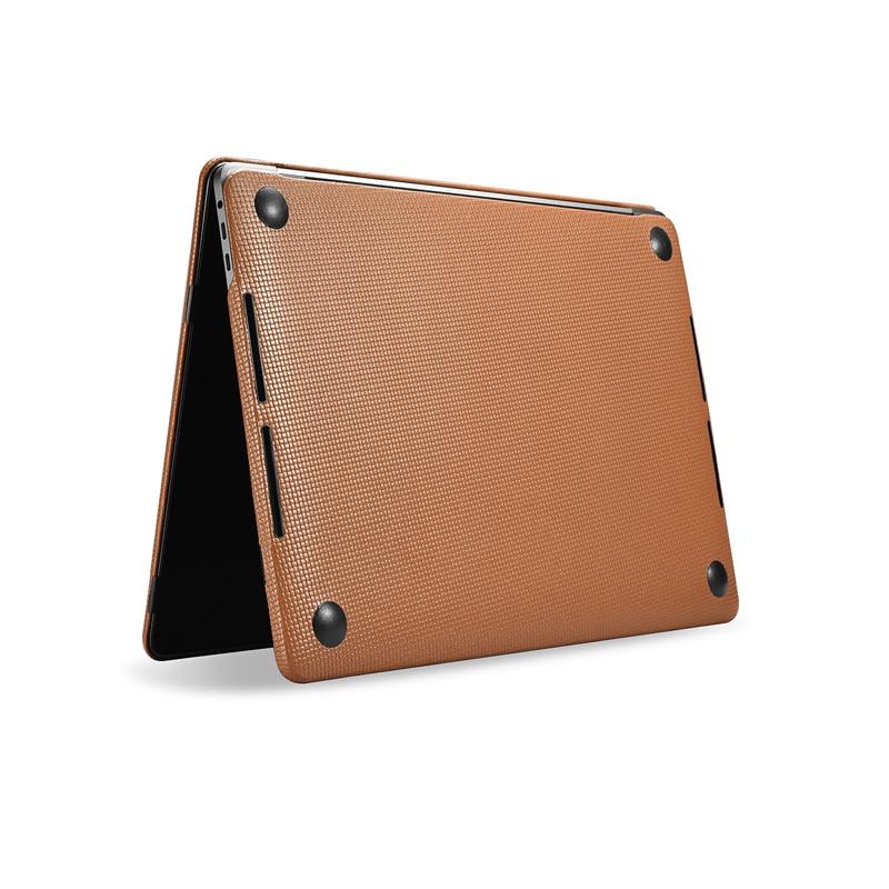 Capa protetora de couro bovino para apple macbook, modelos pro 13 15 2018 2017 a1989 a1707 a1990