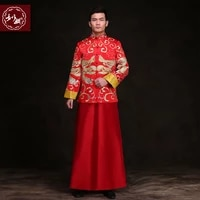 chinese style groom wedding long gown tang suit male suit costume show pratensis dragon gown chinese tunic suit mens formal