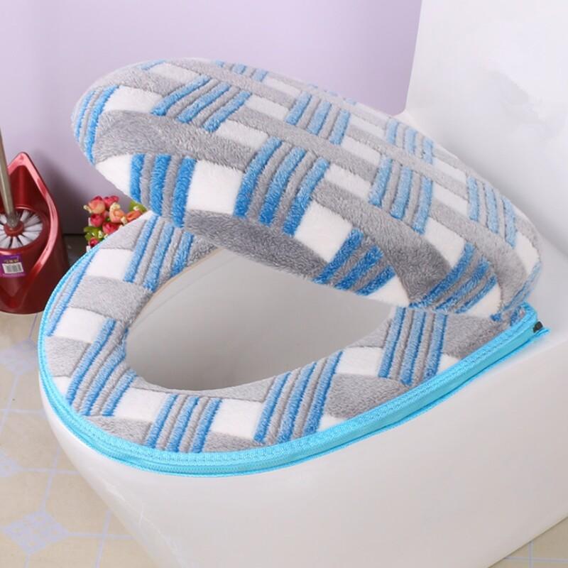 Accesorios para el baño, funda para el asiento del inodoro de otoño/invierno, cubierta cálida con cremallera, asiento del inodoro, conjunto de viaje de algodón, alfombrillas de baño, inodoro